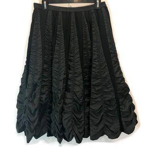 WD.NY Lined Black Gathered Silk Godet Skirt Small